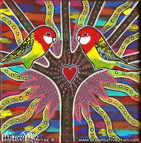 'Australian Eastern Rosella' Original Painting by Mirree Contemporary Dreamtime Animal Dreaming