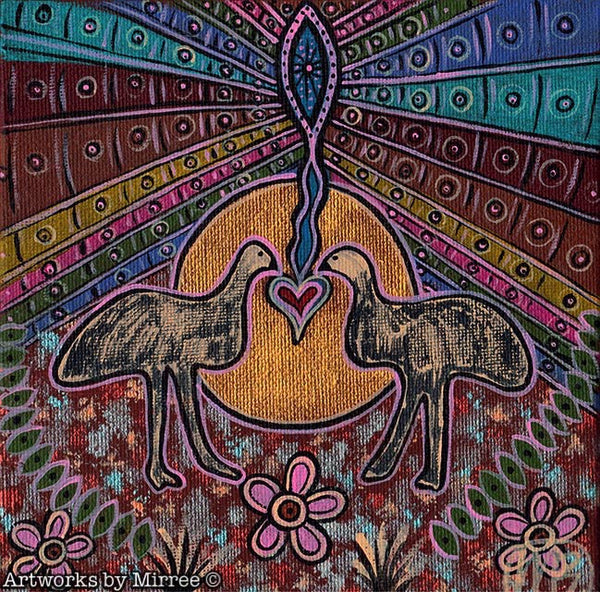 'Emu' Original Painting by Mirree Contemporary Dreamtime Animal Dreaming
