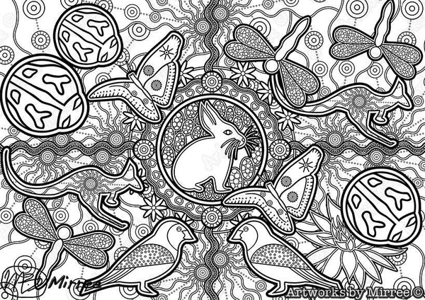 'Magical Easter Bunny & Friends Colouring Single PDF Page COLOURING PAGE' by Mirree Contemporary Dreamtime Series