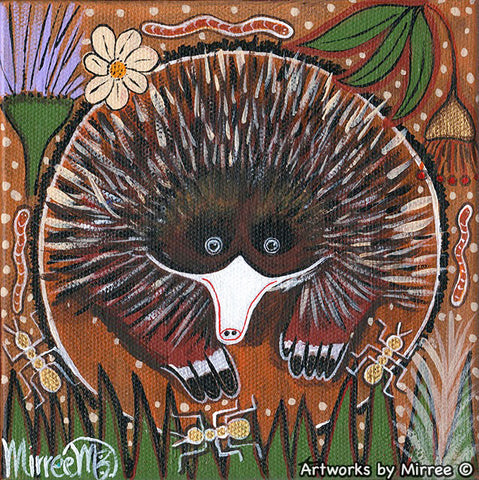 'Short-Nosed Echidna' Original Painting by Mirree Contemporary Dreamtime Animal Dreaming