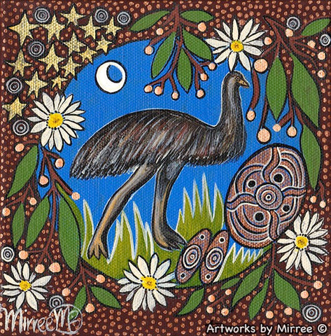 Emu Dreaming with Coolamon Small Contemporary Aboriginal Art Original Painting by Mirree