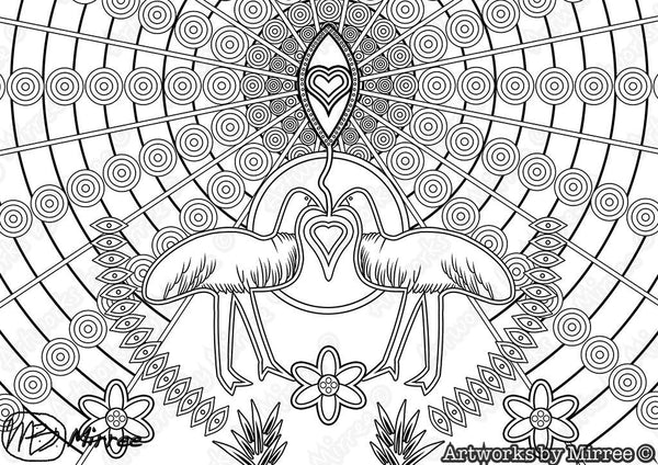 'EMU DREAMING Colouring Single PDF Page COLOURING PAGE' by Mirree Contemporary Universal Dreamtime Series