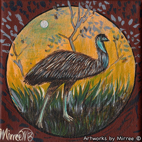 'Emu Dreaming' Original Painting by Mirree Contemporary Dreamtime Animal Dreaming