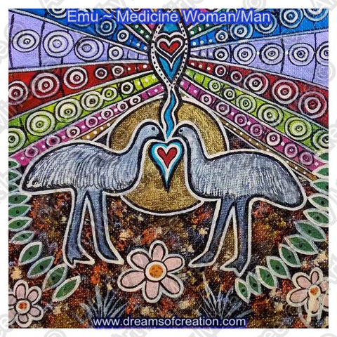 'Emu Medicine Dreaming' Original Painting by Mirree Contemporary Dreamtime Animal Dreaming