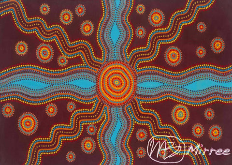 Family Songlines Giclee Contemporary Aboriginal Art Print by Mirree