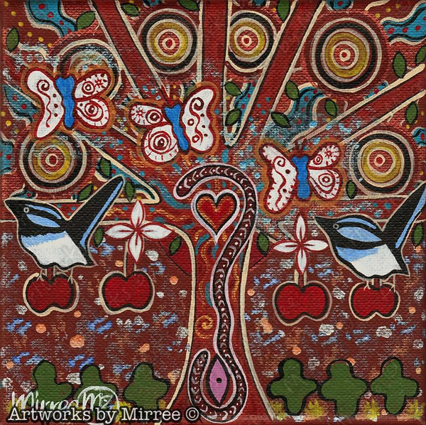 'Family Tree with Butterfly & Wren' Original Painting by Mirree Contemporary Dreamtime Animal Dreaming