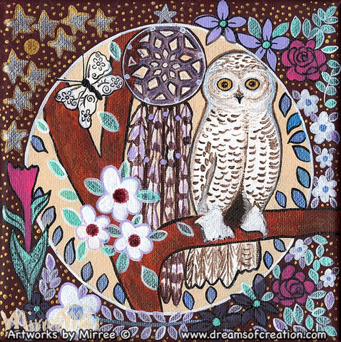 Snowy Owl Dreaming with flower medicine Contemporary Aboriginal Art Original Painting by Mirree
