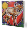 Luxury Fox Aboriginal Art Animal Dreaming Square Greeting Card Single by Mirree