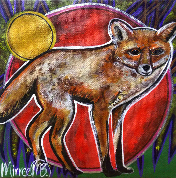 'Fox' Original Painting by Mirree Contemporary Dreamtime Animal Dreaming