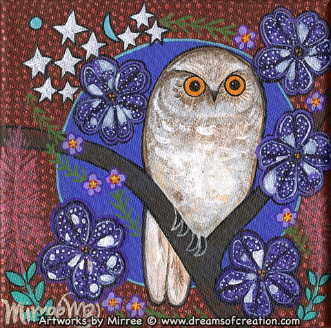 Snowy Owl with Galaxy Pansies Dreaming Small Contemporary Aboriginal Art Original Painting by Mirree