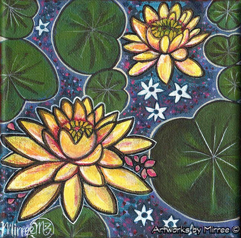 'Golden Lotus with Lily Pad Dreaming' Original Painting by Mirree Contemporary Dreamtime Animal Dreaming