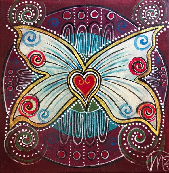 'Golden Ancestral Butterfly' Original Painting by Mirree Contemporary Dreamtime Animal Dreaming