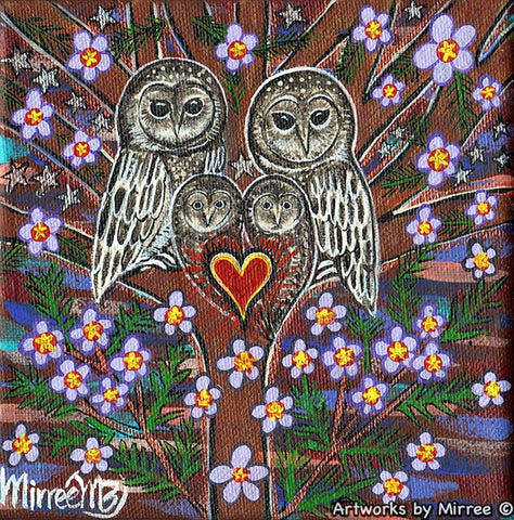 Australian Greater Sooty Owl Dreaming Small Contemporary Aboriginal Art Original Painting by Mirree