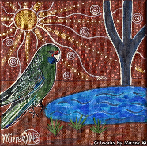 'Australian Green Rosella Parrot by Waterhole' Original Painting Series by Mirree Contemporary Dreamtime Animal Dreaming