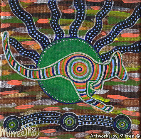 Red Kangaroo Tracks Contemporary Aboriginal Art Original Painting by Mirree