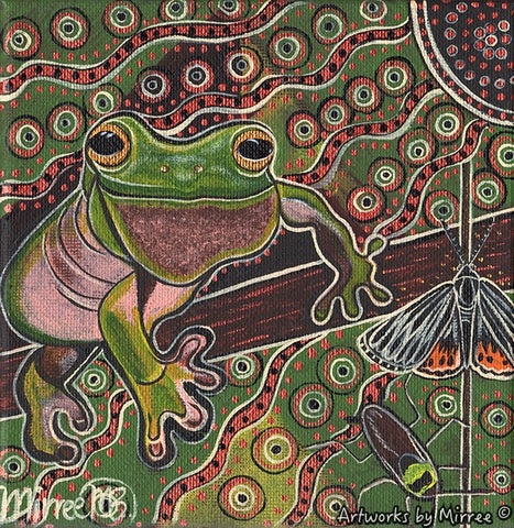 'Australian Green Tree Frog' Original Painting by Mirree Contemporary Dreamtime Animal Dreaming