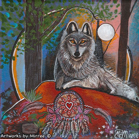 Grey Wolf Dreaming with Dreamcatcher Framed Canvas Print by Mirree Contemporary Aboriginal Art