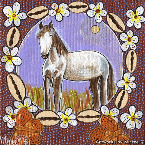 Horse Dreaming with Cowrie Shells & Butterfly Medicine Contemporary Aboriginal Art Original Painting by Mirree