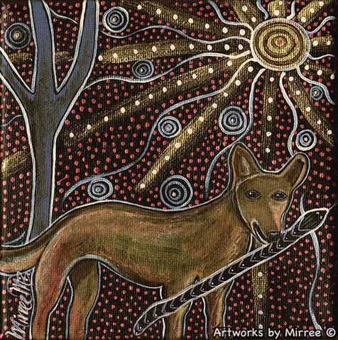THE DINGO HUNTERS MOON Framed Canvas Print by Mirree Contemporary Aboriginal Art