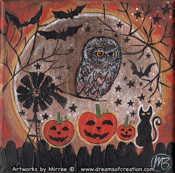 AUSTRALIAN HALLOWEEN NIGHT OWL Framed Canvas Print by Mirree Contemporary Aboriginal Art
