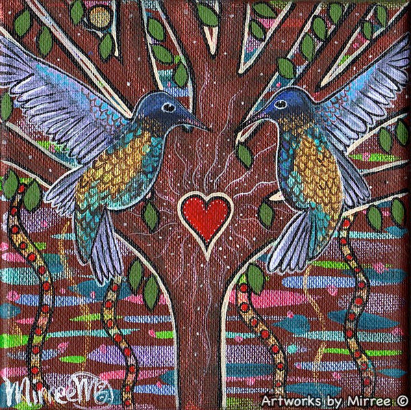 Fiery-Throated Hummingbird Dreaming Small Contemporary Aboriginal Art Original Painting by Mirree