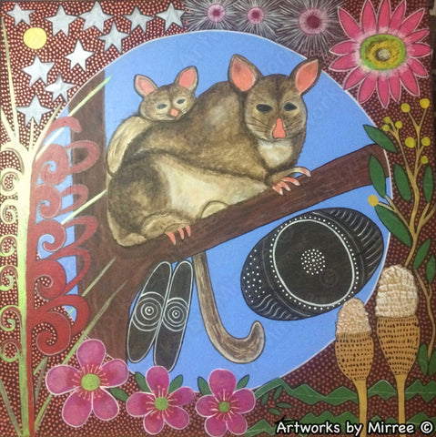 Possum and Baby Dreaming with Coolamon Large Contemporary Aboriginal Art Original Painting by Mirree