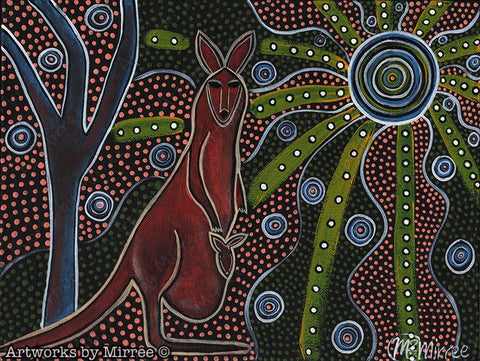 'Kangaroo & Baby Rectangle' Original Painting by Mirree Contemporary Dreamtime Animal Dreaming