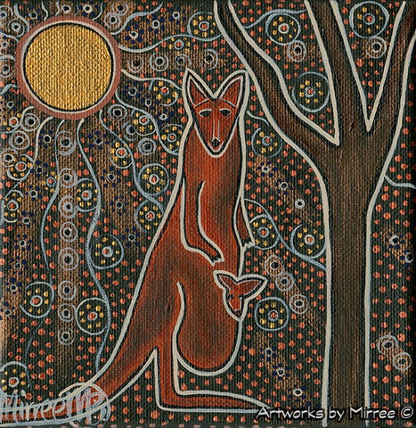 'Starlight of the Universe with Kangaroo & Baby' Original Painting by Mirree Contemporary Dreamtime Animal Dreaming