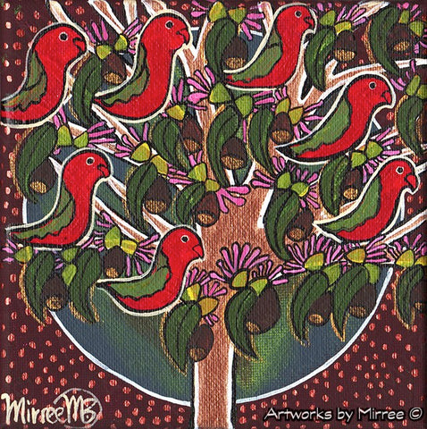 'Australian King Parrots in Tree' Life Changing Original Painting Series by Mirree Contemporary Dreamtime Animal Dreaming