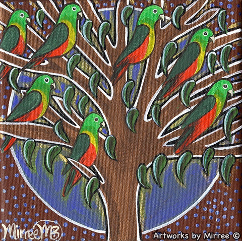 'Australian female King Parrots in Tree' Life Changing Original Painting Series by Mirree Contemporary Dreamtime Animal Dreaming