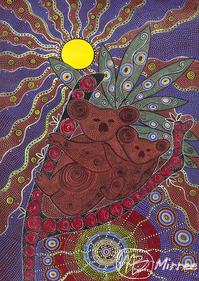 Koala & Baby Aboriginal Art Animal Dreaming A6 Gift Card Single by Mirree