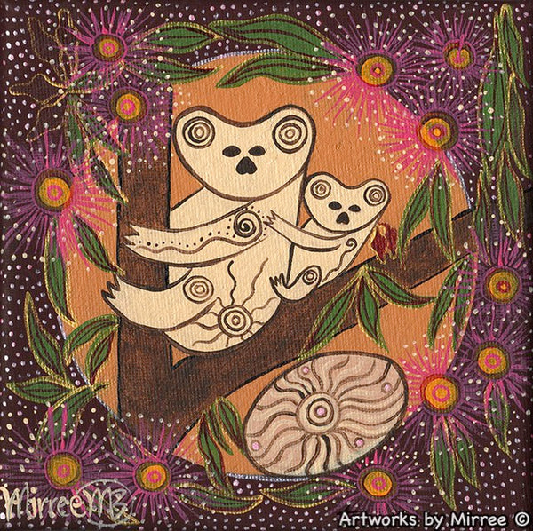 Koala and Baby Dreaming with Coolamon Small Contemporary Aboriginal Art Original Painting by Mirree