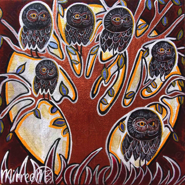 Owls Life Changes Contemporary Aboriginal Art Original Painting by Mirree