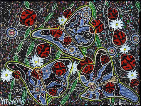 Ancestral Lady Beetle & Butterfly Dreaming Contemporary Aboriginal Art Original Painting by Mirree