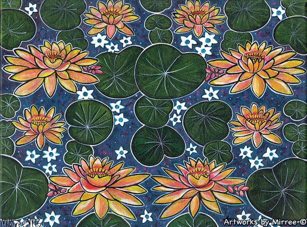 Gold and Pink Lotus with Lily Pad Dreaming ORIGINAL PAINTING by Mirree Contemporary Aboriginal Art