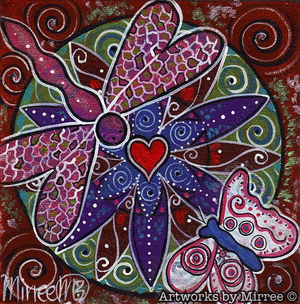 'Secrets to the Universe through Heart & Mind with Dragonfly & Butterfly' Original Painting by Mirree Contemporary Dreamtime Animal Dreaming