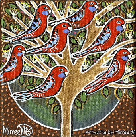 'Australian Crimson Rosellas in Tree' Life Changing Original Painting Series by Mirree Contemporary Dreamtime Animal Dreaming