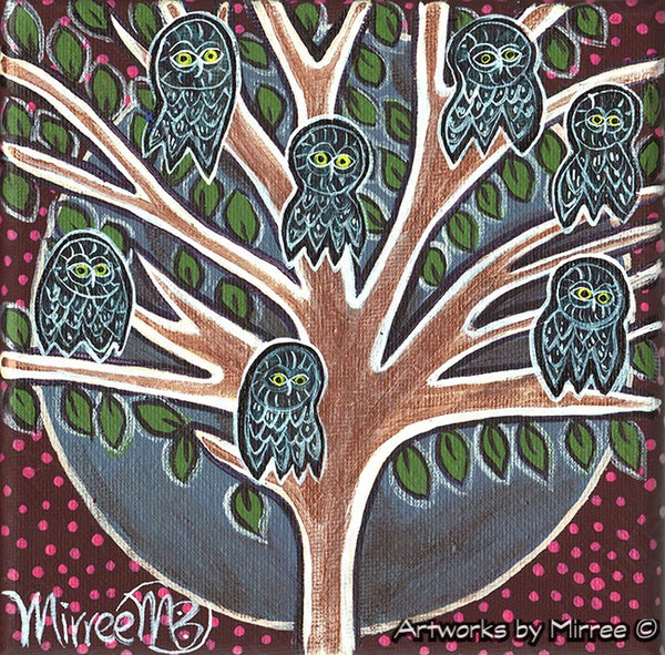 Completion Life Changes Owls Contemporary Aboriginal Art Original Painting by Mirree