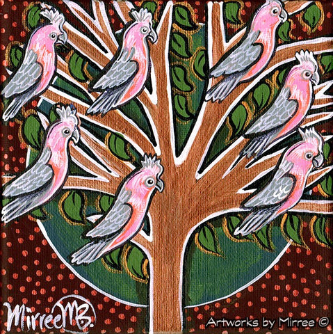 'Australian Pink Galahs in Tree' Life Changing Original Painting Series by Mirree Contemporary Dreamtime Animal Dreaming