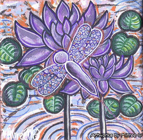 'Lily Pad Dreaming with Dragonfly' Original Painting by Mirree Contemporary Dreamtime Animal Dreaming