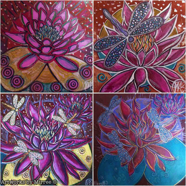 'Pink Lotus w Dragonfly' Original Painting by Mirree Contemporary Dreamtime Animal Dreaming