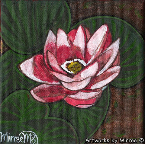 'Pink Lotus with Lily Pads Higher Consciousness' Original Painting by Mirree Contemporary Dreamtime Animal Dreaming