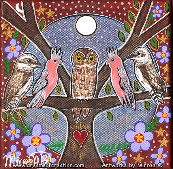 'Meeting of the Birds' #2 Small Original Painting by Mirree Contemporary Dreamtime Animal Dreaming