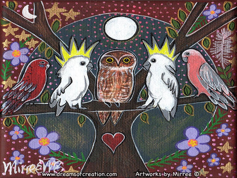 'Meeting of the Birds' Original Painting by Mirree Contemporary Dreamtime Animal Dreaming