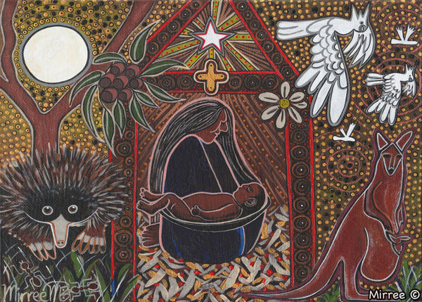 Aboriginal Australian Art Nativity Scene A3 Girlcee Print by Mirree Contemporary Aboriginal Art