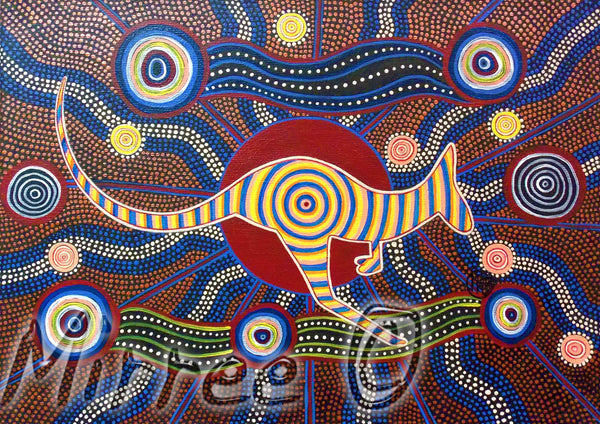 Movement of the Red Kangaroo Contempoary Aboriginal Art Giclee Print by Mirree