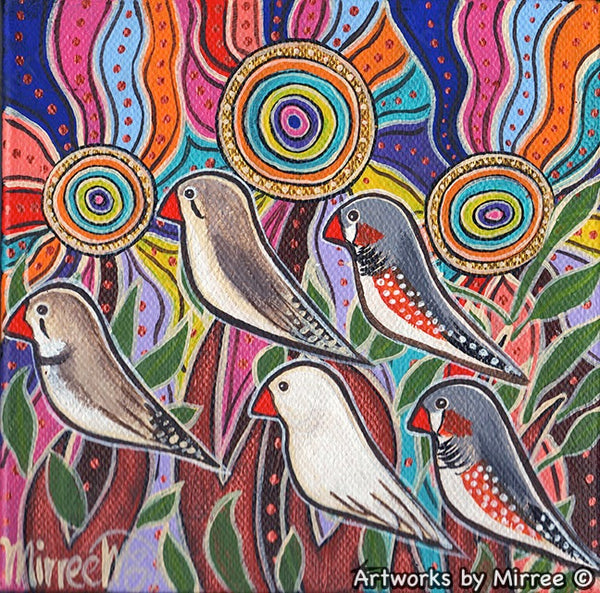 'Ancestral Zebra Finch Guiding your Dreams' Original Painting by Mirree Contemporary Dreamtime Animal Dreaming