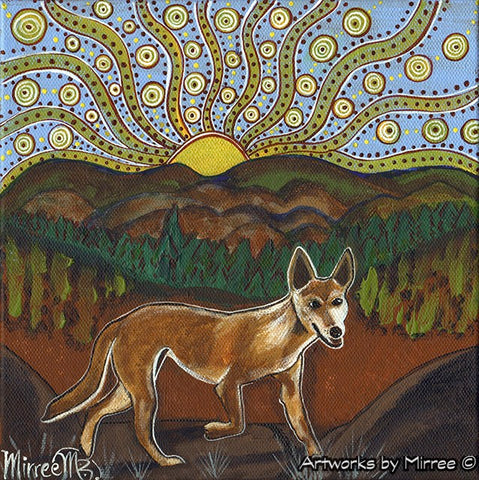 'Australian Desert Dingo by Valley and Plain ~ Wandering Dingo' Original Painting by Mirree Contemporary Dreamtime Animal Dreaming