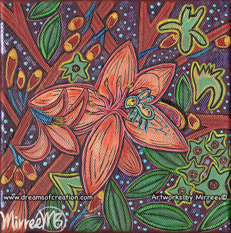 'Blossoming Flower with Australian Blue-Banded Bee' Original Painting by Mirree Contemporary Dreamtime Animal Dreaming