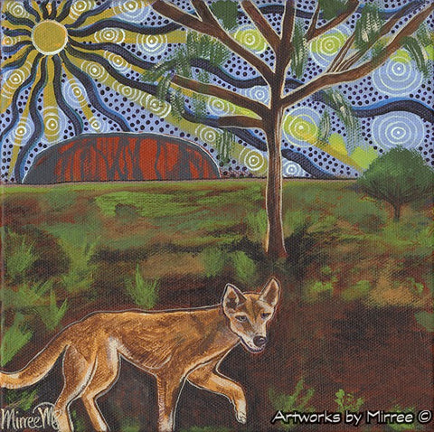 'Australian Desert Dingo by Ayres Rock ~ Vision Quest' Original Painting by Mirree Contemporary Dreamtime Animal Dreaming